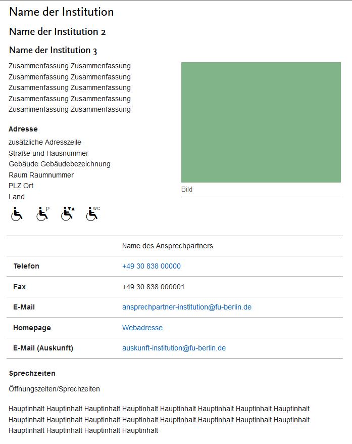 Kontaktinformationen • Content Management • Center für Digitale Systeme